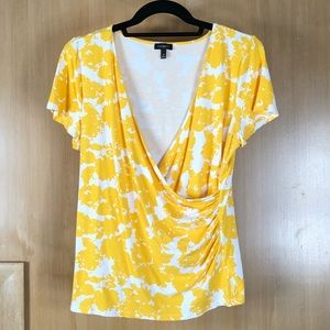 Talbots Yellow White Faux Wrap Rushed Top